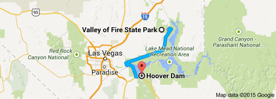 From: Valley of Fire State Park, 29450 Valley of Fire Road, Overton, NV 89040 To: Hoover Dam
