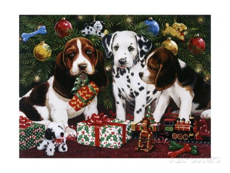 Christmas Puppies 2 Giclee-vedos tekijänä William Vanderdasson AllPosters.fi-sivustossa