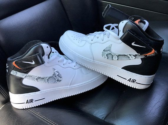 Custom Snake skin Nike Air Force 1 mid BlackWhite | Tenis