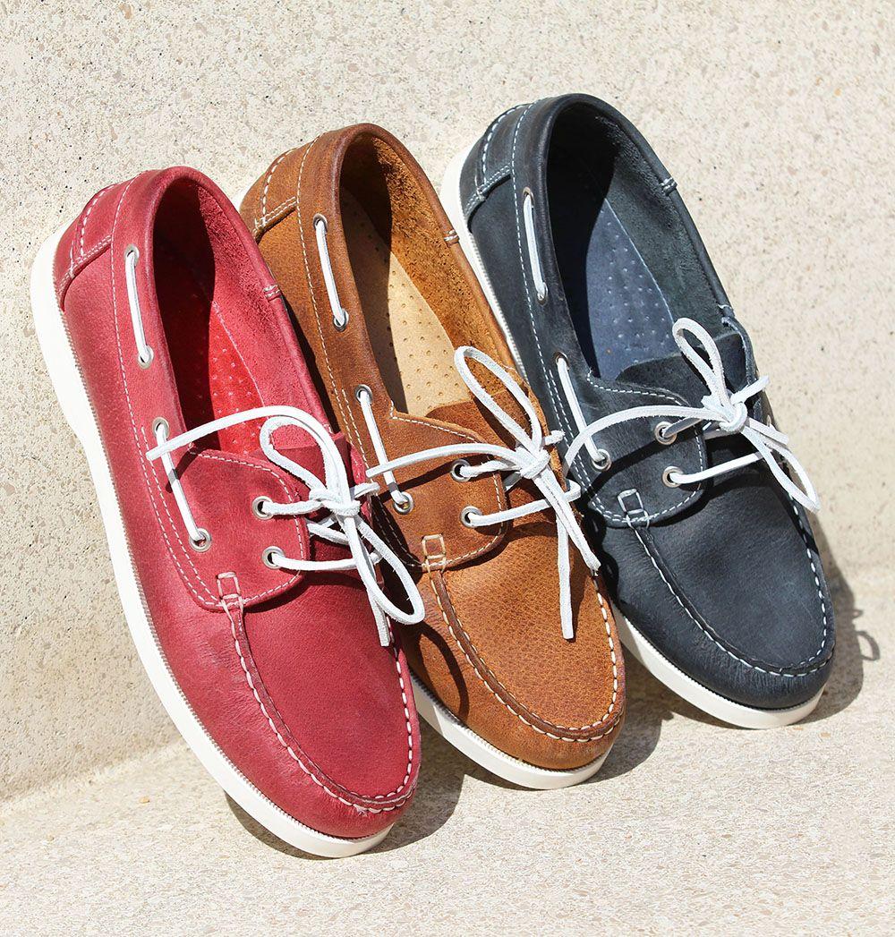 Chaussures bateau homme cuir rouge | Chaussure bateau homme