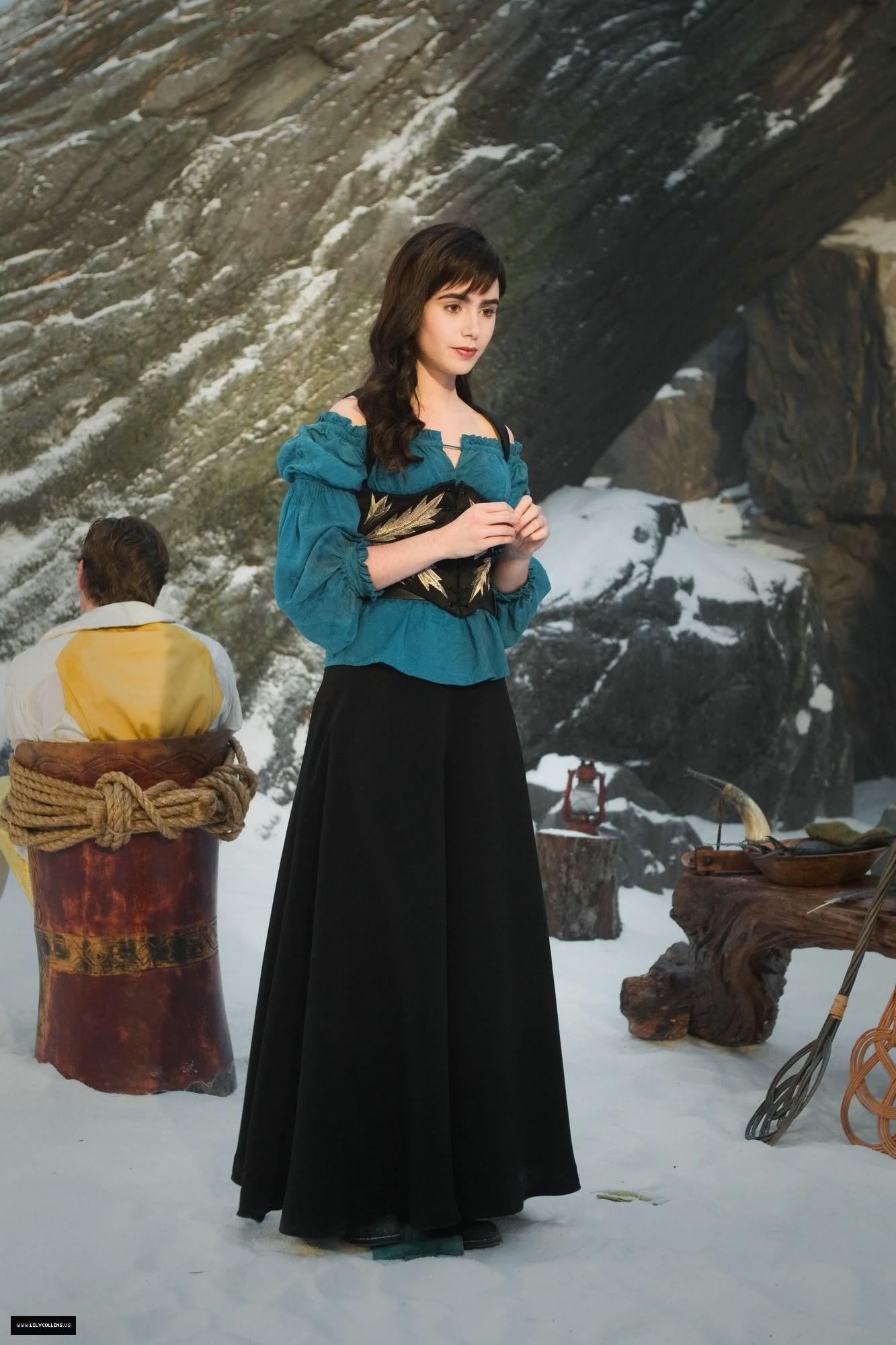 Lily Collins Snow White In Battle Attire