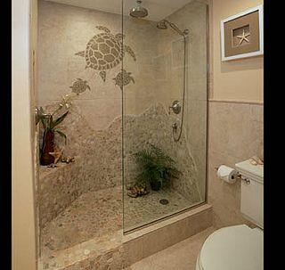 turtle mosaic shower | beach house decor, turtle bathroom