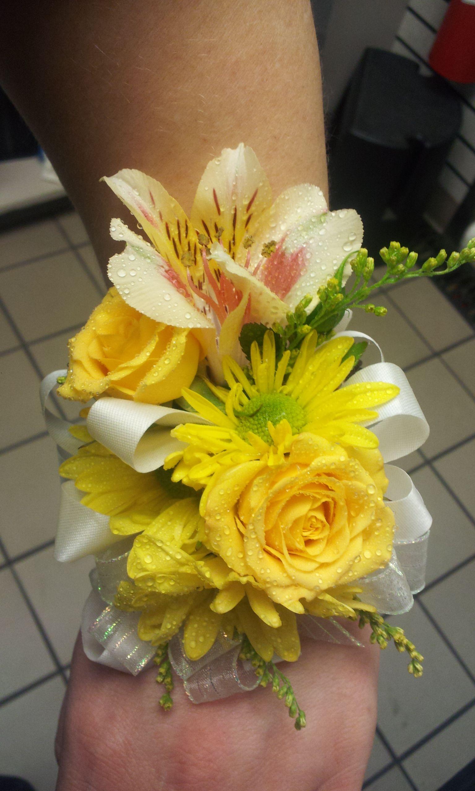 Yellow Daisy Spray Rose And Alstroemeria Wrist Corsage Again Love