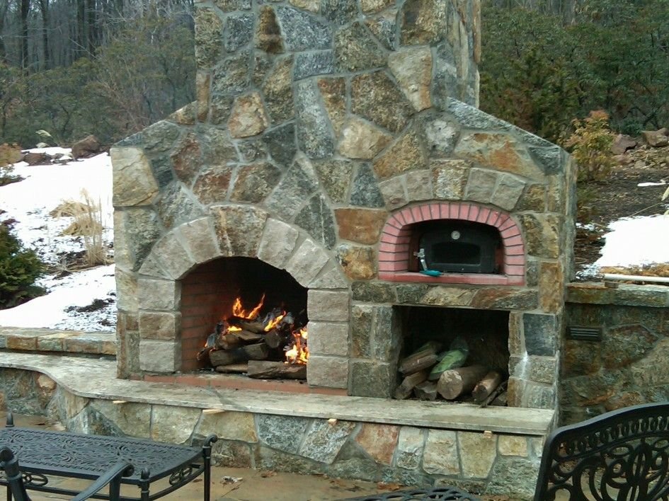 Exterior, Traditional Outdoor Pizza Oven With Wood Burner Storage As