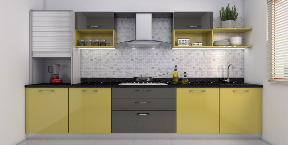 Buy Heron Elegant Lshaped Kitchen Online Best Price  Homelane Fair Kitchen Design Images Review