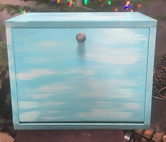 Farmhouse Decor Wooden Bread Box Handpainted Shabby Chic Rustic