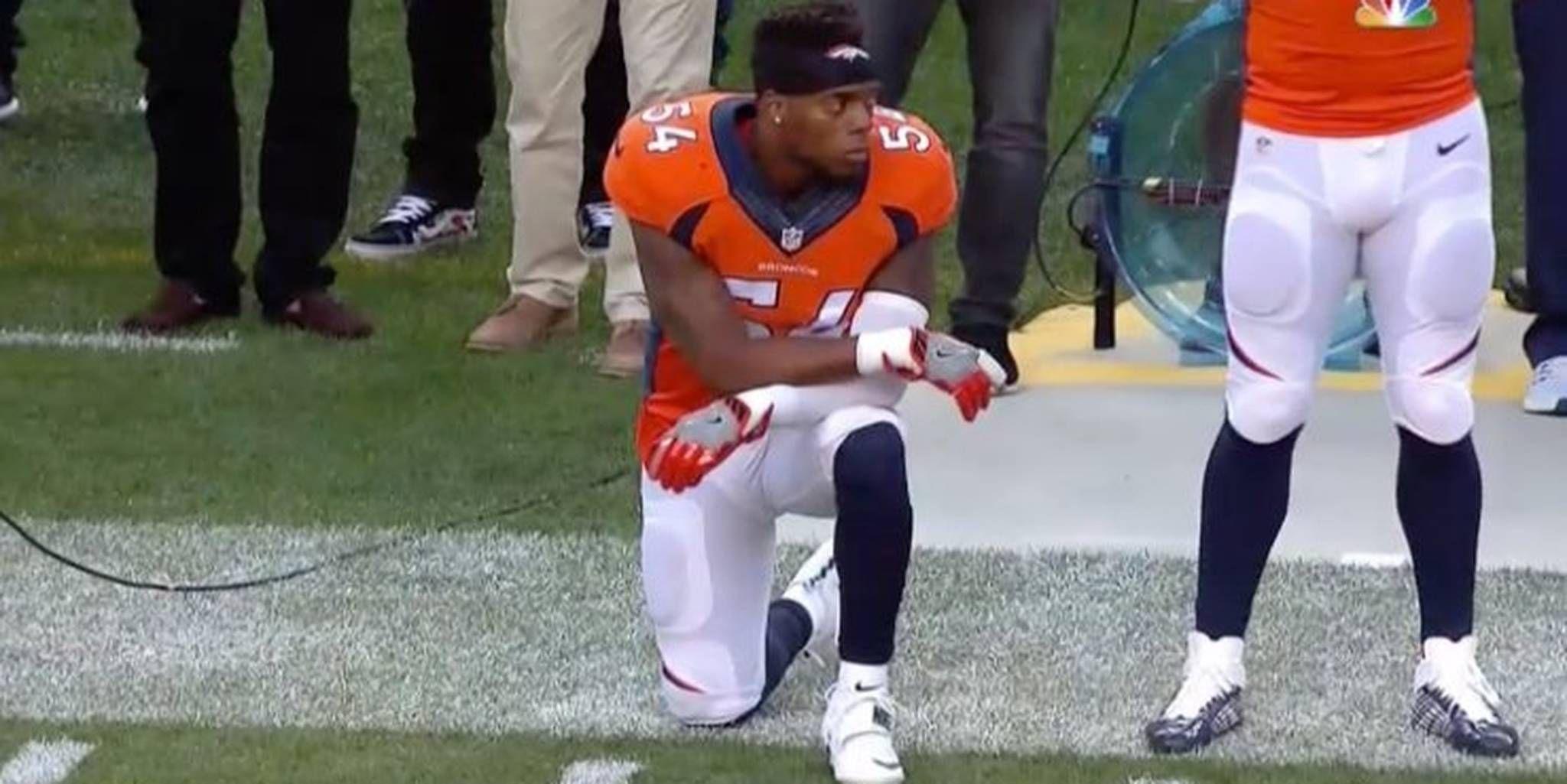 Brandon Marshall Takes Cue From Colin Kaepernick Kneels During National Anthem Brandon Marshall Kneeling During National Anthem Kaepernick