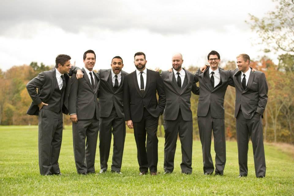 Love & Faith, wedding day, groom, groomsmen, gray suits, grey ...