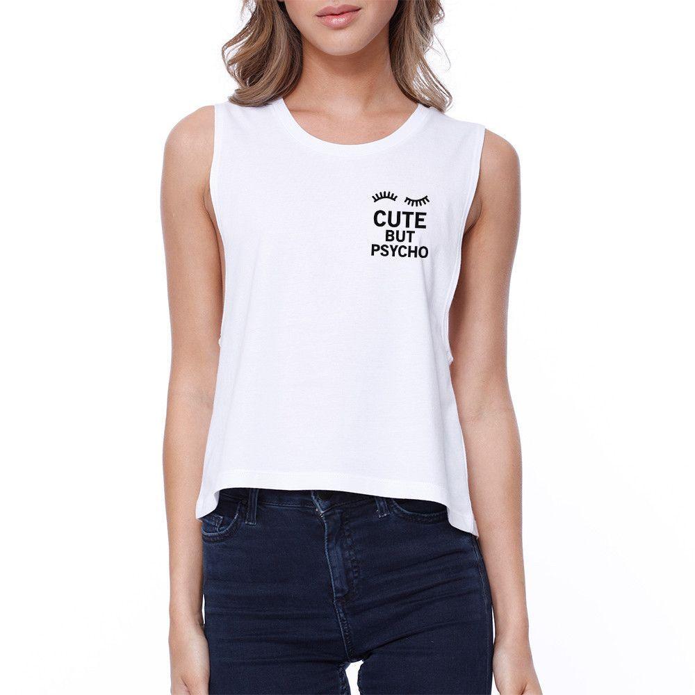 Cute But Psycho Pocket Crop Tee Sleeveless Shirt Junior Tank Top