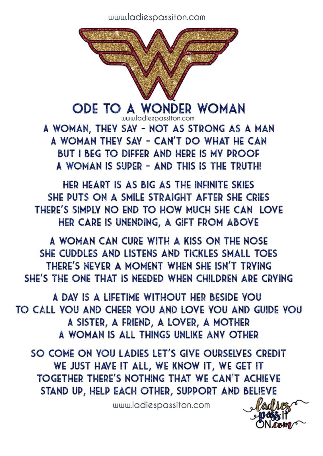 Ode To A Wonder Woman Ladies Pass It On Wonder Woman Quotes Wonder Woman Woman Quotes