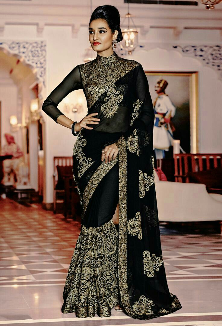 b5fe56f774278e Black embroidered saree with full sleeves blouse | sarees.....desi ...