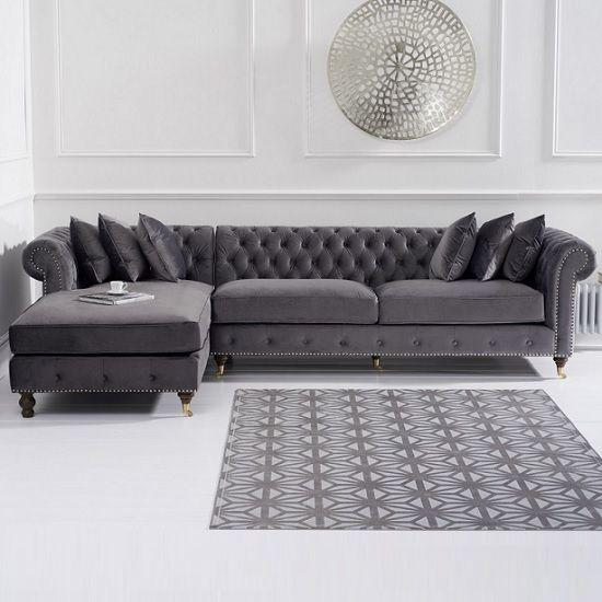 Nesta Chesterfield Left Corner Sofa In Grey Velvet And Wooden Legs Featuring A Strik Chesterfield Sofa Living Room Corner Sofa Design Chesterfield Living Room