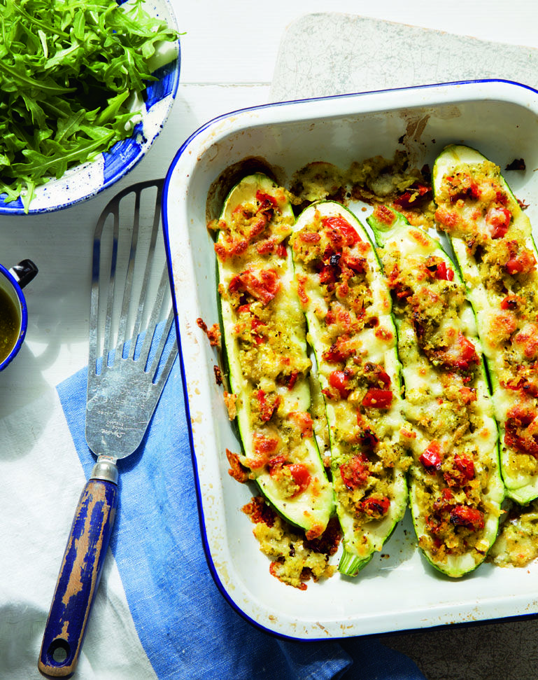 Hasty and tasty Italian stuffed courgettes http://magazine.co-operativefood.co.uk/julaug2014?page=16