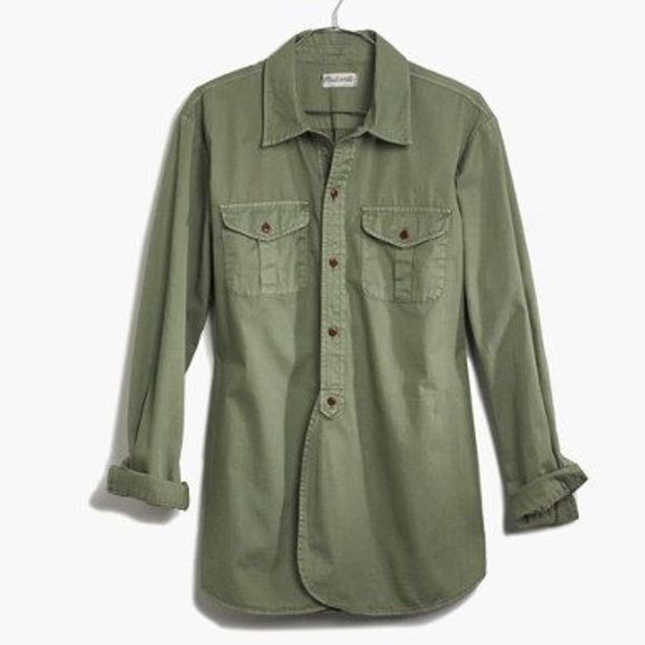 Madewell olive/army green button up shirt | Green, Shirts and Buttons