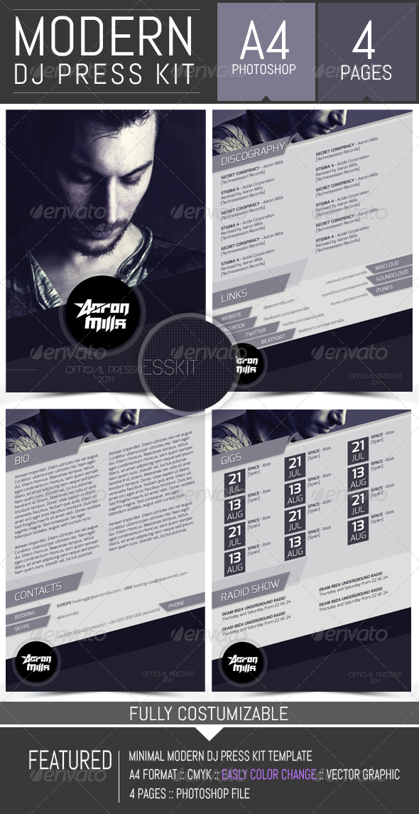 dj and musician press kit    resume template