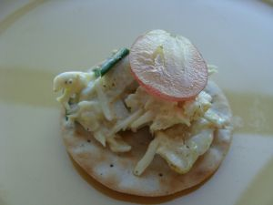 Imitation crab on cracker