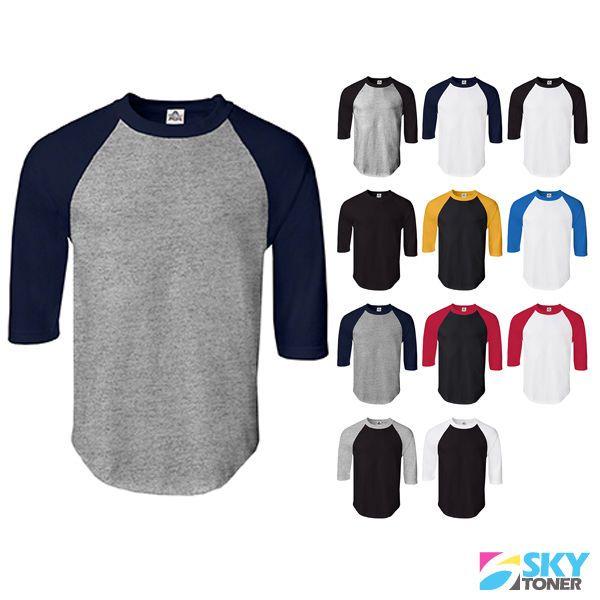Men/'s Baseball Jersey Short Sleeve 3//4 Raglan T Shirt Sports Team Womens New