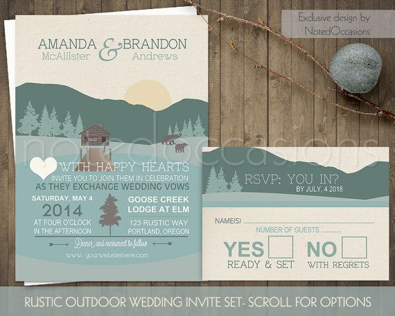 Mountain Wedding Invitations Rustic Outdoor By Notedoccasions
