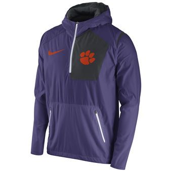 Nike Clemson Tigers Purple Sideline Vapor Fly Rush Half-Zip ...