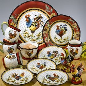rooster china set | Chanticleer Rooster Dinner Plate 11.25 inches Set/4 by Julie Ueland & rooster china set | Chanticleer Rooster Dinner Plate 11.25 inches ...