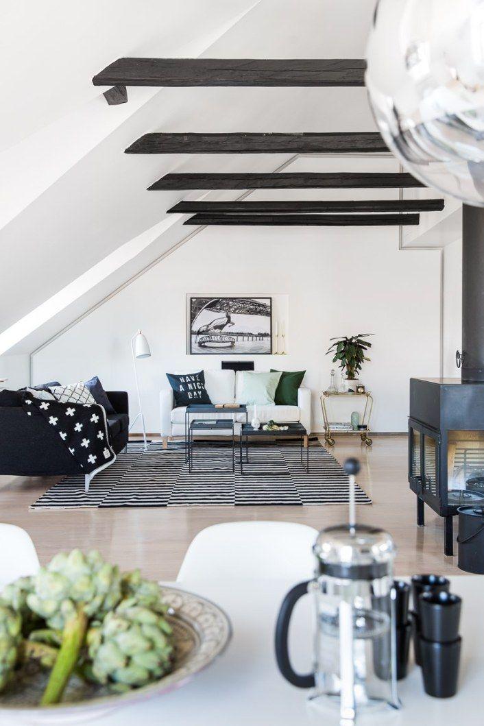 Salon style scandinave noir et blanc