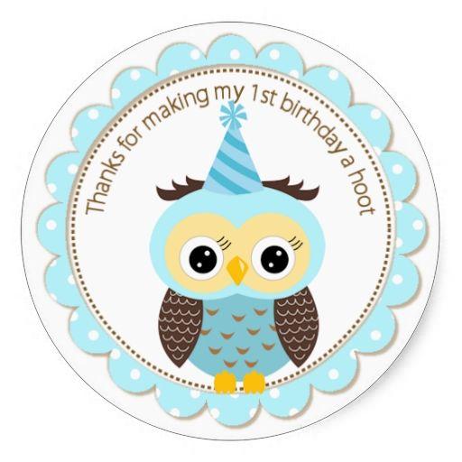 Boys 1st birthday blue owl thank you round stickers