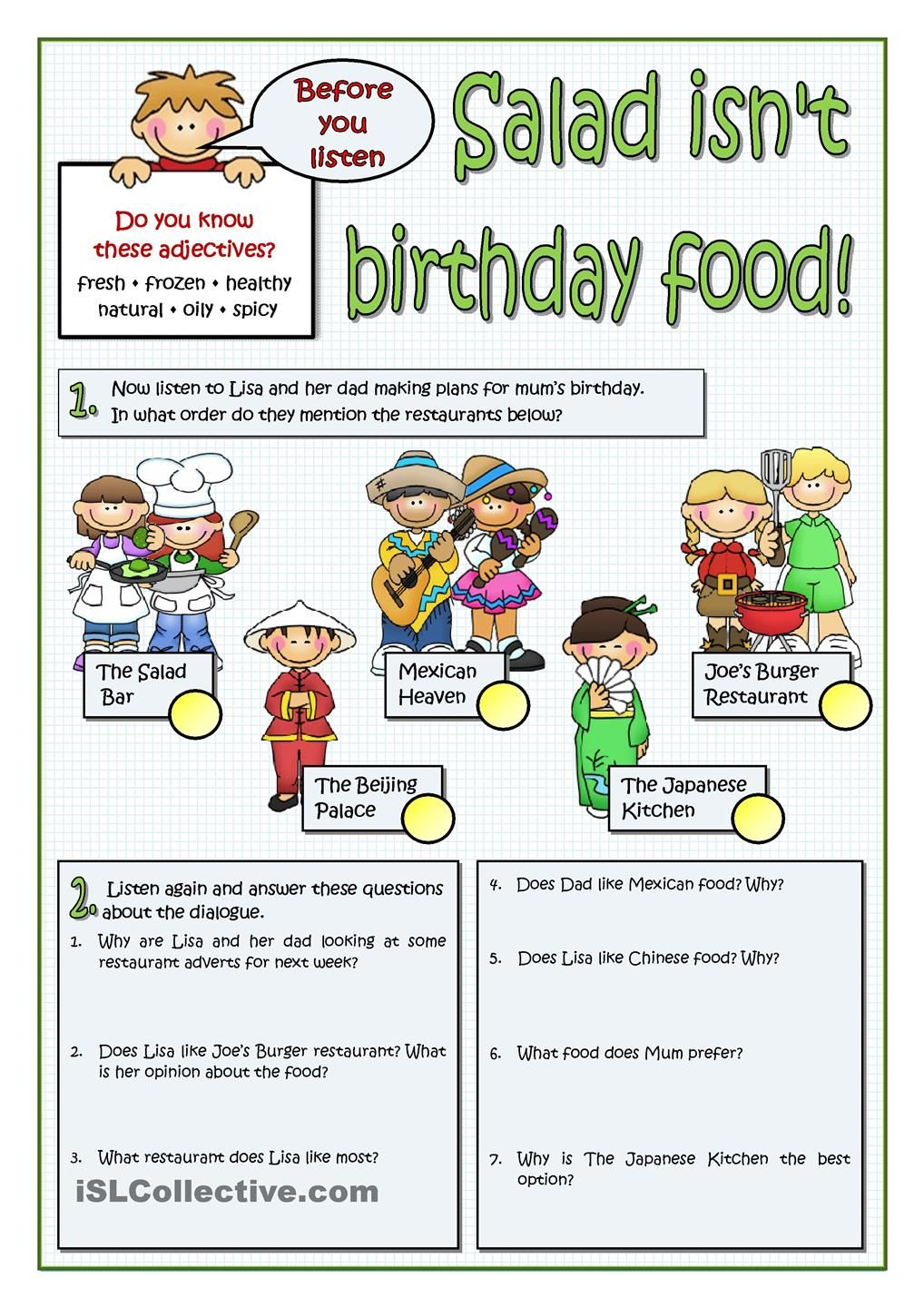 worksheet How Observant Are You Worksheet salad isnt birthday food esl 2 pinterest worksheets printable food