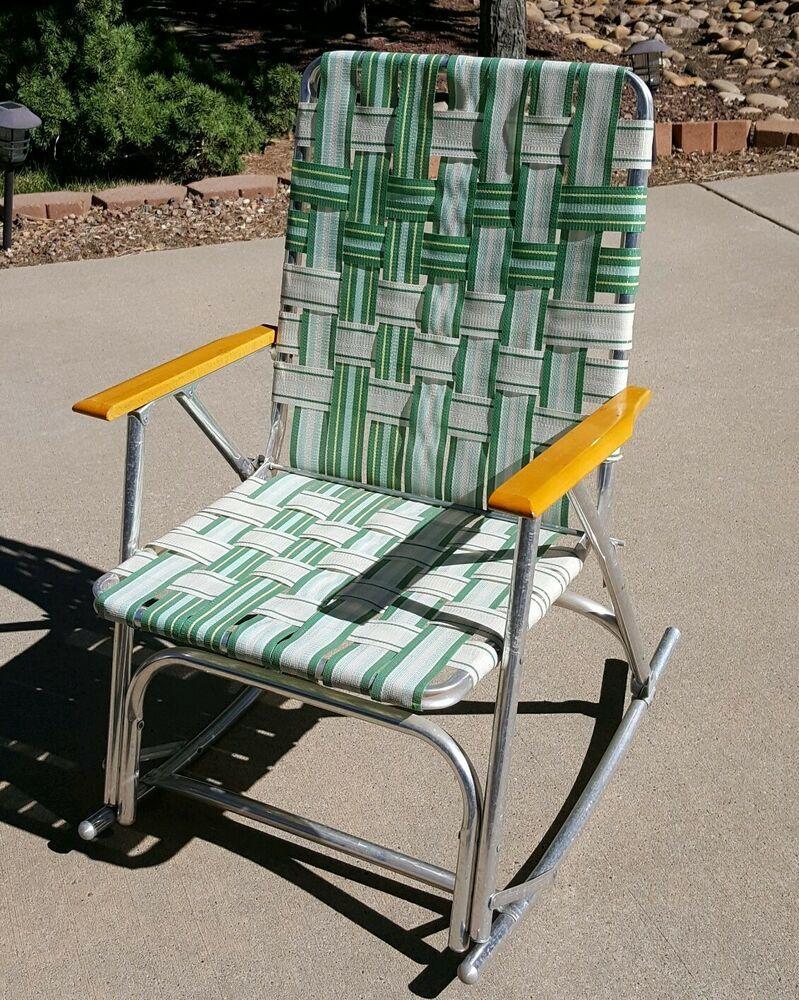 Vintage Aluminum Wood Arms Webbing Rocking Chair Rocker