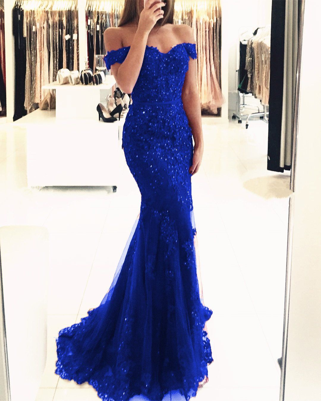 Elegant Pearl Beaded Lace Mermaid Evening Dresses Off The Shoulder Prom  Gowns f44a52fceb00