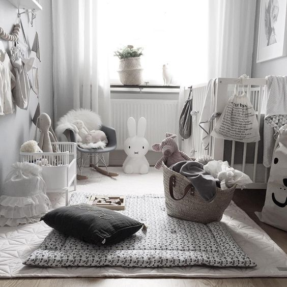 Modern Lighting Ideas The Ideal Light For A Children Room: Stunning Grey & White Nursery. Add An Accent Colour To