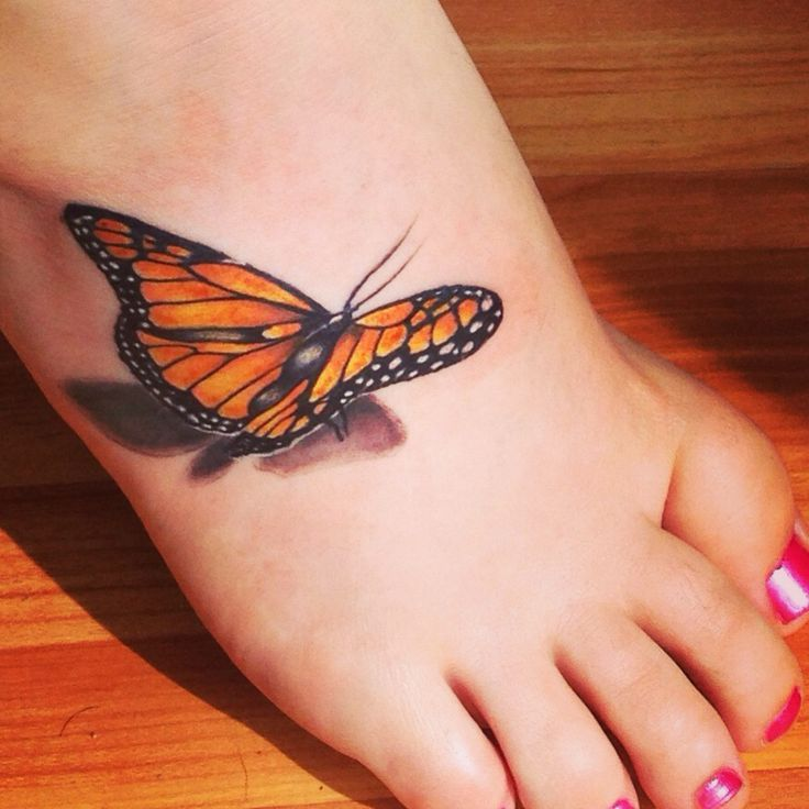 Realistic Black And Orange 3d Butterfly Tattoo On Foot Butterfly