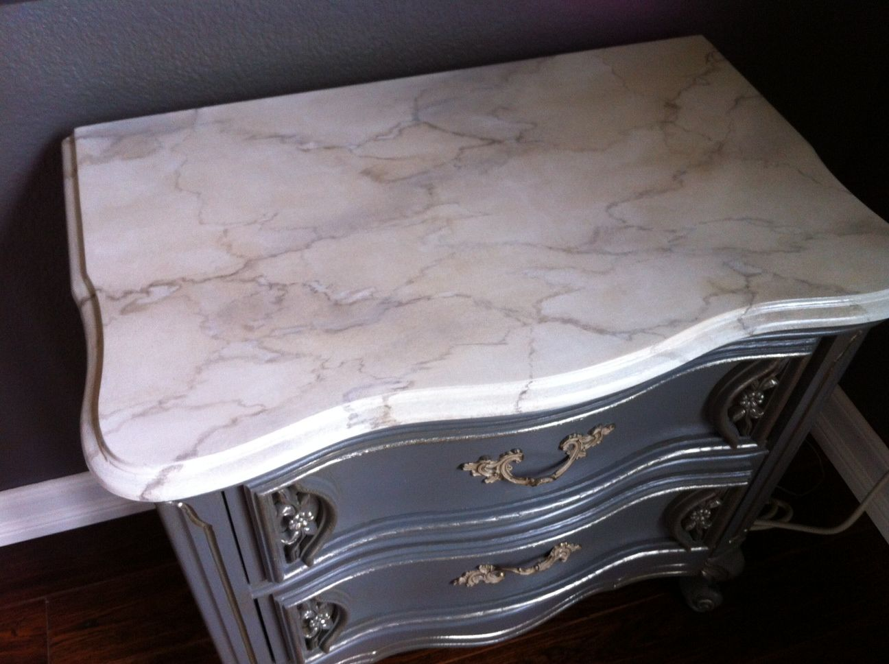 Faux painting furniture ideas - Faux Marble Nightstand Grey Makeover With Antique Glaze And Faux Marble Paint Job Furniture Ideas