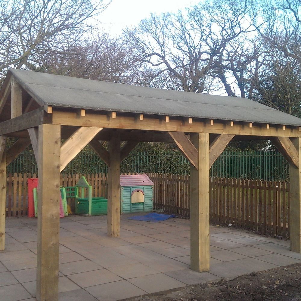 Ideal for an outdoor seating area hot tub shelter playground shelter sun shelter smoking area or car port it comes with joists and ply board all ready