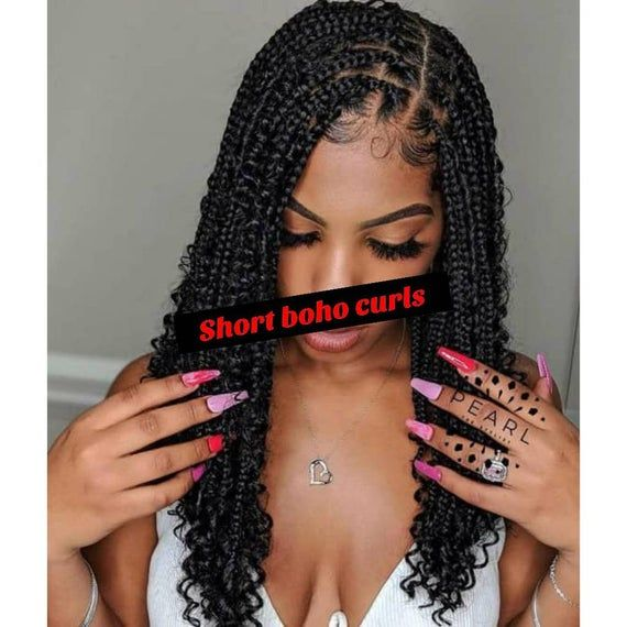 Short Boho Box Braids .This is actually a copied,we replaced it on a wig. We go extra mile get exactly what our client wants, all our works are custom made 100% we we do it just like you will love it.Features:13*4 Lace frontal: This is made with Lace frontal, the Lace frontal covers from ear to ear and the back is made of wig cap. It cannot pack into Bun or pontytail, it is mostly best just like the picture displayed. It can make a small frontal bun in front,but you have to be careful so not to
