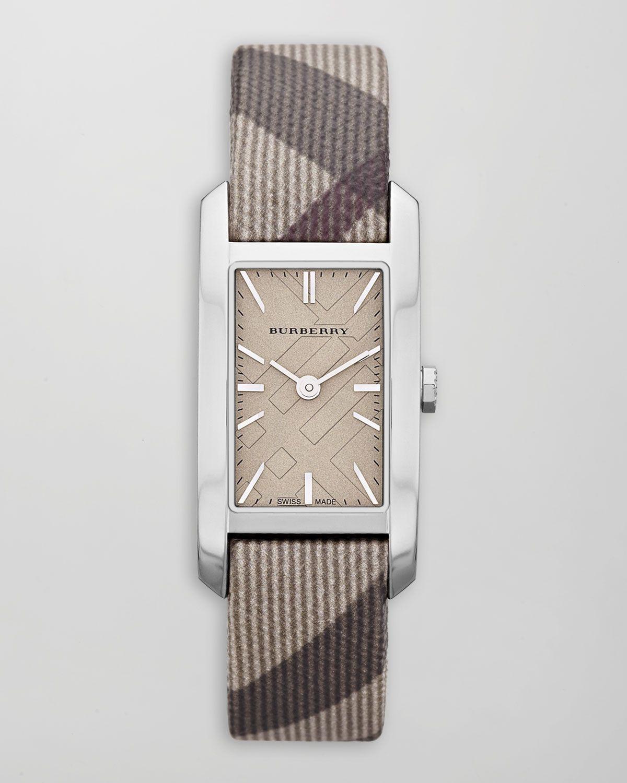 Burberry Smoked Check-Strap Rectangular Watch - Neiman Marcus