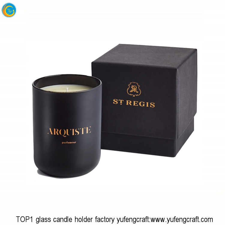 Luxury matte black glass jars glass candle containers