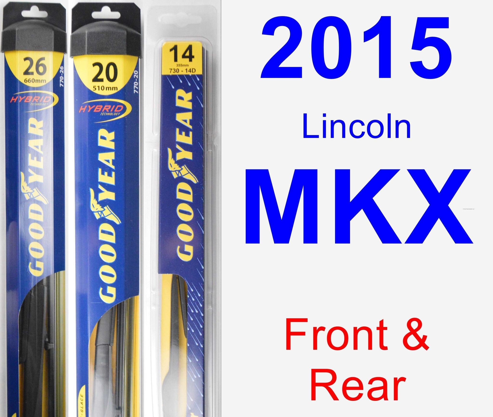 Front & Rear Wiper Blade Pack For 2015 Lincoln MKX