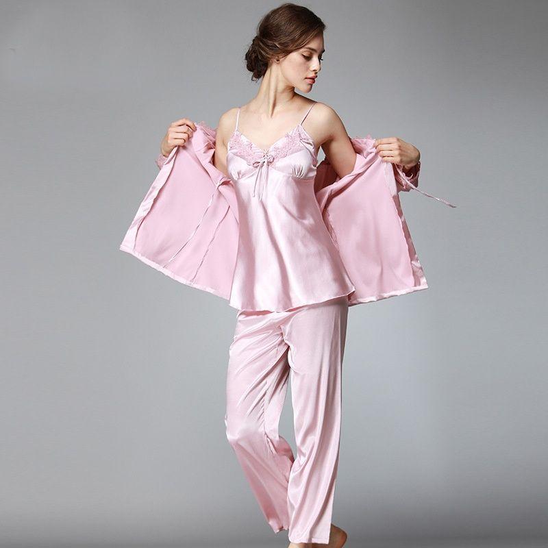 3 Pieces Women Silk Satin Sleepwear Set Solid Pajama Set V-neck Pijama Set  Fashion Pyjama Set Plus Size Indoor Clothing 6a73a29a3
