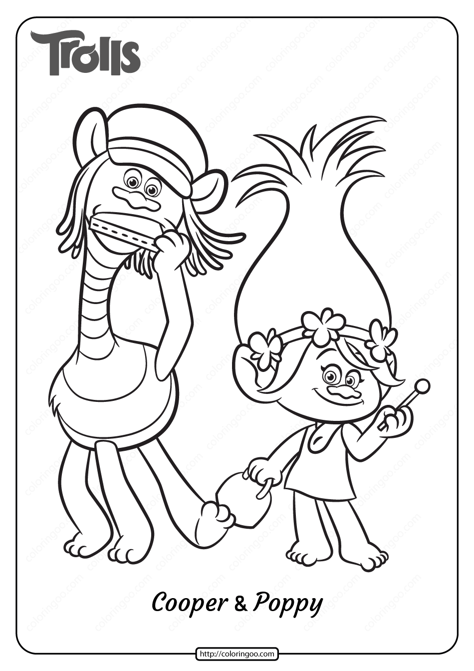 Printable Trolls Cooper And Poppy Coloring Page Poppy Coloring Page Disney Coloring Pages Cartoon Coloring Pages