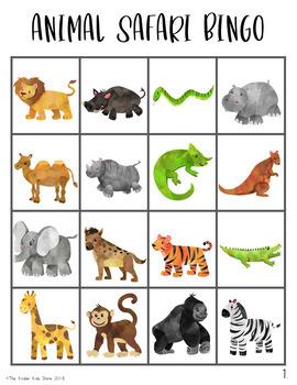 Animal Safari Bingo Game
