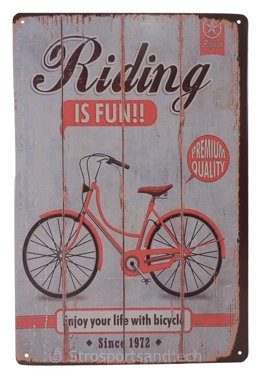 Bicycle bike ride funny tin sign bar pub garage home art wall decor