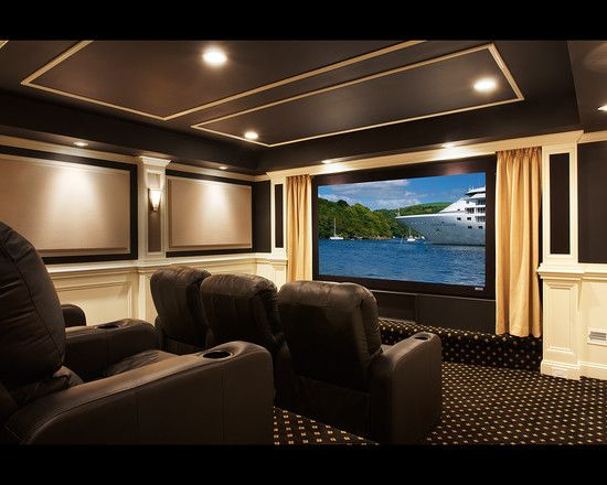 Traditional Media Room Design Pictures Remodel Decor And Ideas Color Scheme Home Theater Room Design Home Theater Rooms Home Theater Setup