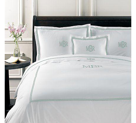 Monogram Italian Hotel Satin Stitch White Bedding Italian