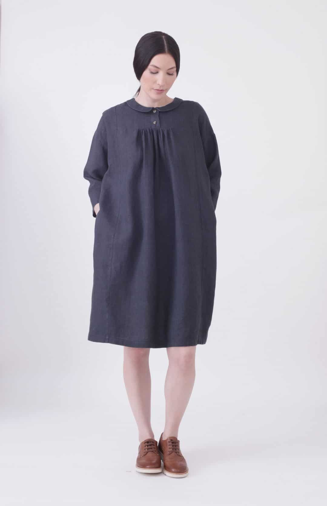 fcd2181288 love this navy and white mini check linen dress with button back made in  England by Nadinoo. Click through for more linen dress ideas you ll love