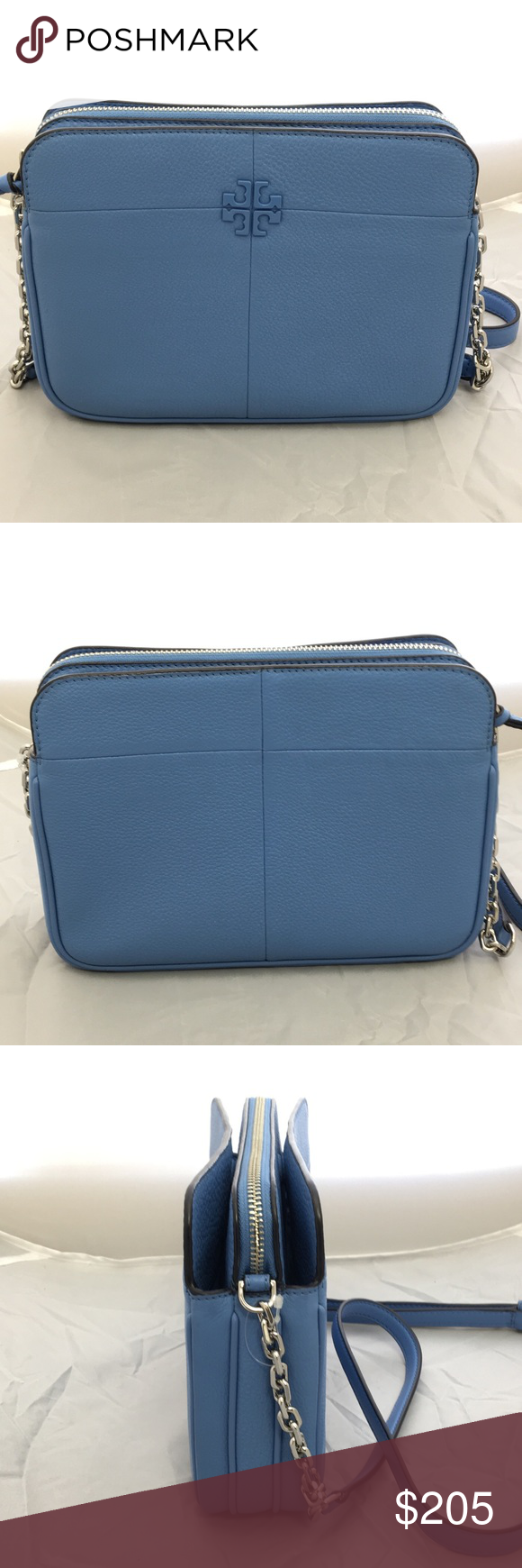 "18d112d174a NWOT Tory Burch Ivy Crossbody Pebbled leather in ""Montego Blue"". Zip close."