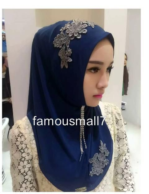 87d8323d3251 Pull On Ready Made One Piece lace Hijab Long Shawl Scarf Pashmina ...