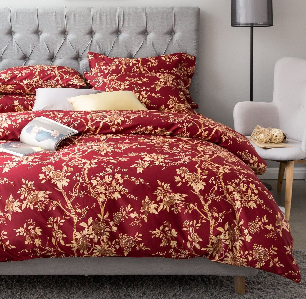 Eastern Floral Chinoiserie Blossom Print Duvet Quilt Cover Navy Blue Tan  White Asian Style