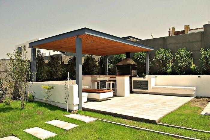 Terraza Sencilla Con Asador Barbacoa Moderna Diseño De