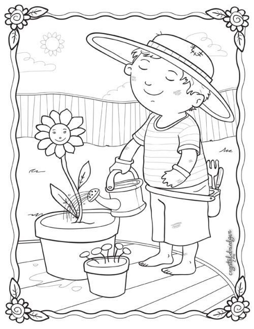Gardening Coloring Small Card To Print  Spring coloring pages