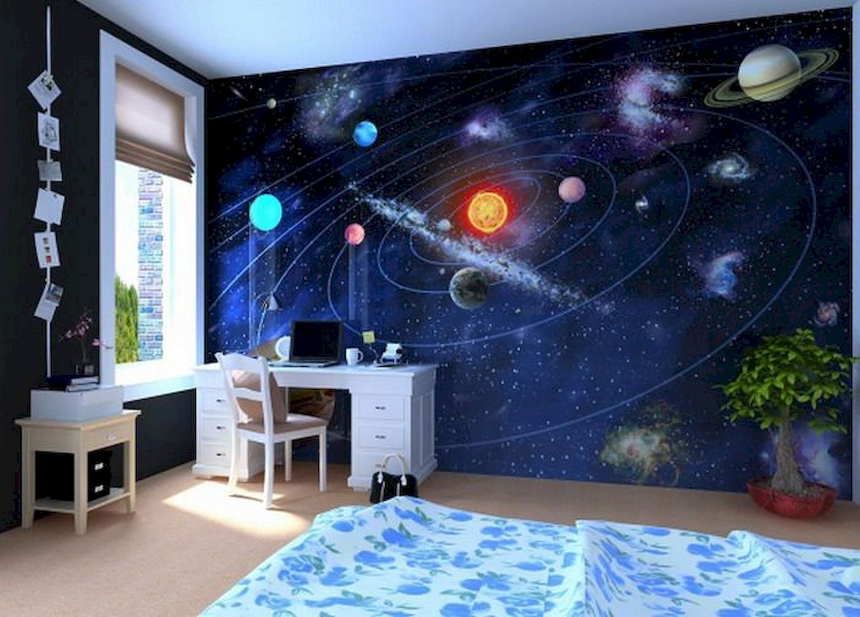10 Home Paint Design For Kids Inspiration Develop Smarter Little Creativity Freshouz Com Outer Space Bedroom Outer Space Bedroom Decor Space Themed Bedroom